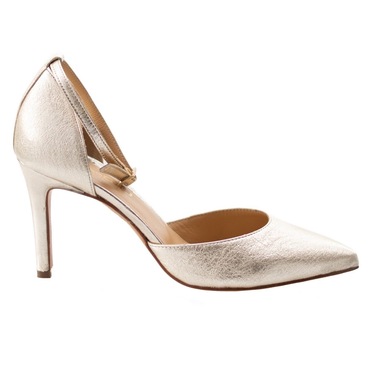 Pantofi din piele naturala, Lea-Gu, Nude, model stiletto