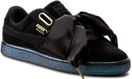 Wn's 03 Blackpuma Satin Heart Black 362714 Suede Puma